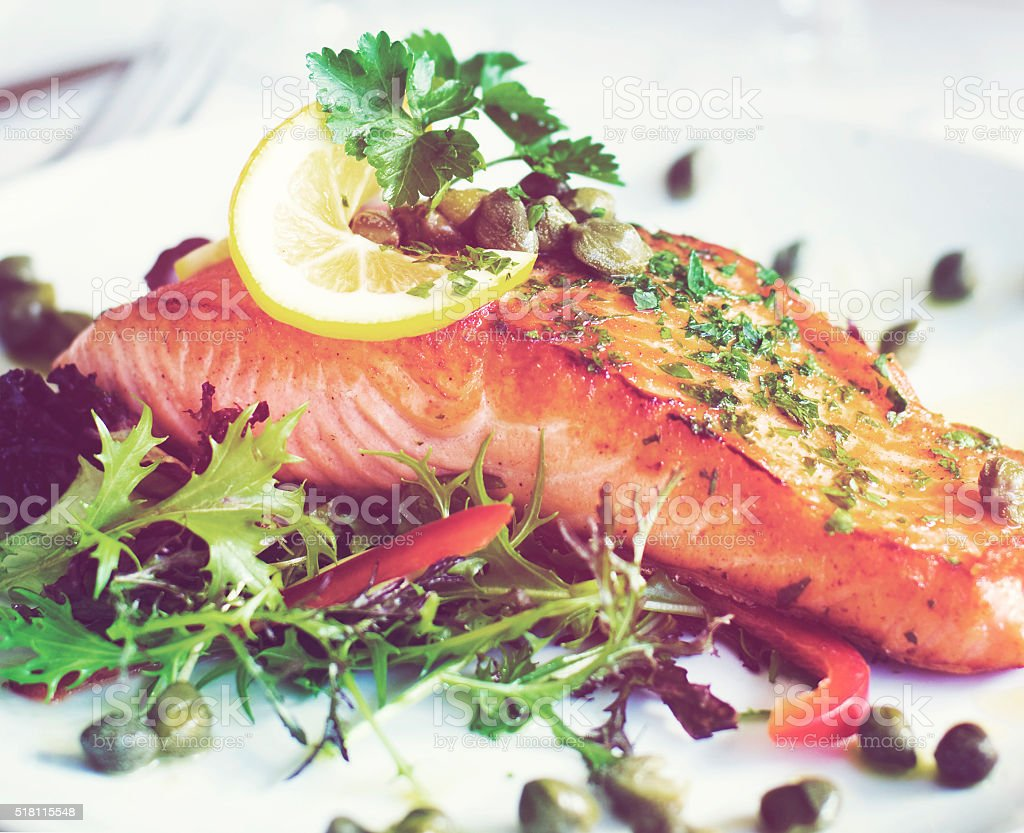 Grilled Salmon Fillet With Vegetables Concept stock photo