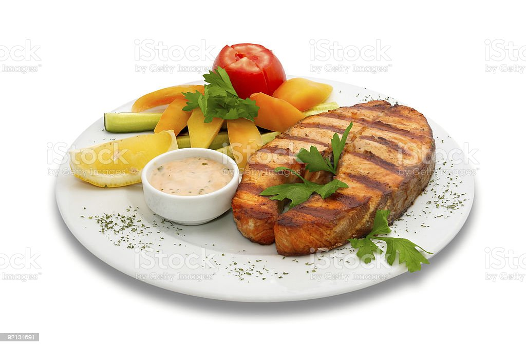 grilled salmon fish steak with vegetables royalty-free stock photo