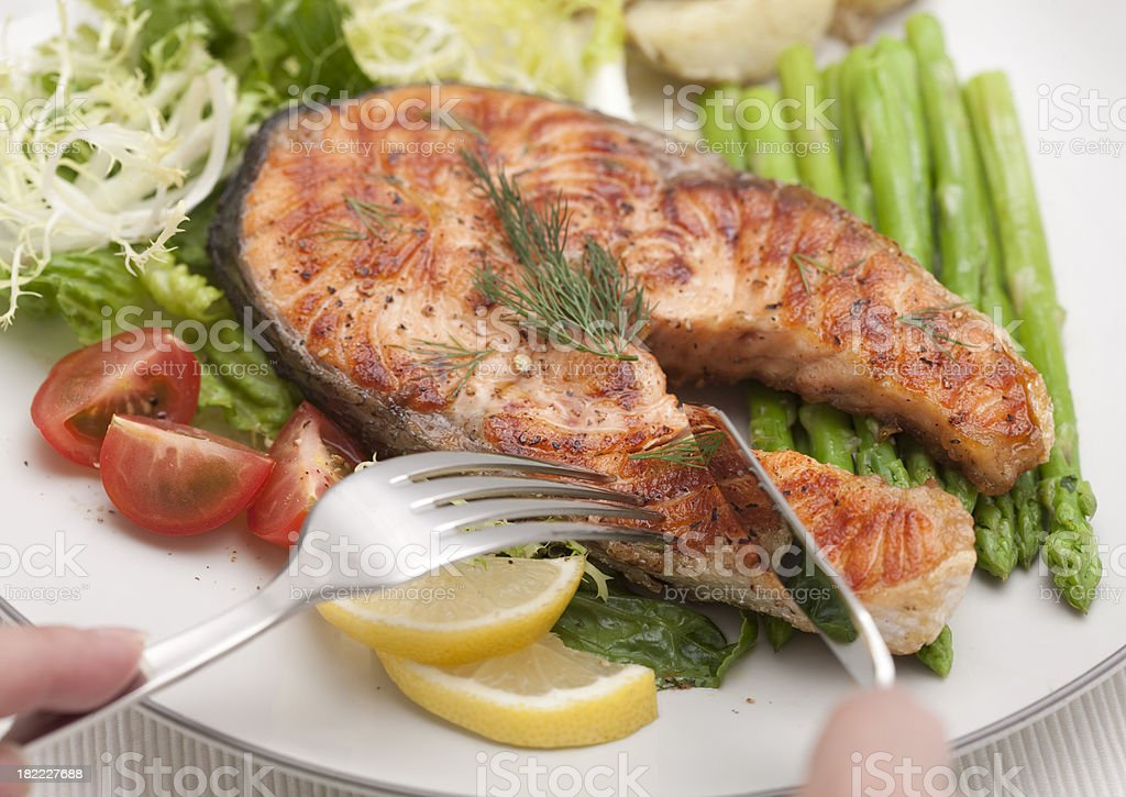 Grilled Salmon for Dinner royalty-free stock photo