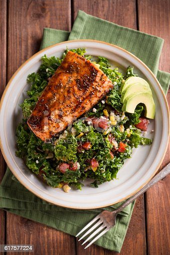 Grilled Kale Salad with Chipotle Orange Glazed Salmon and Avocado