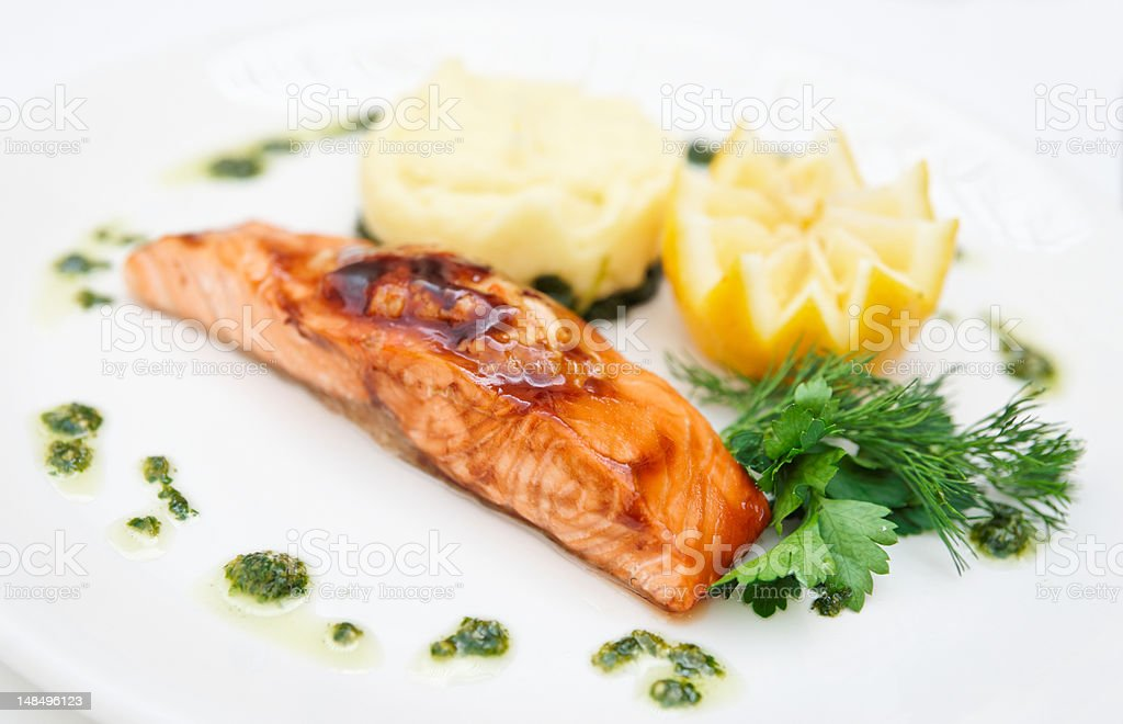 Grilled salmon on plate royalty-free stock photo