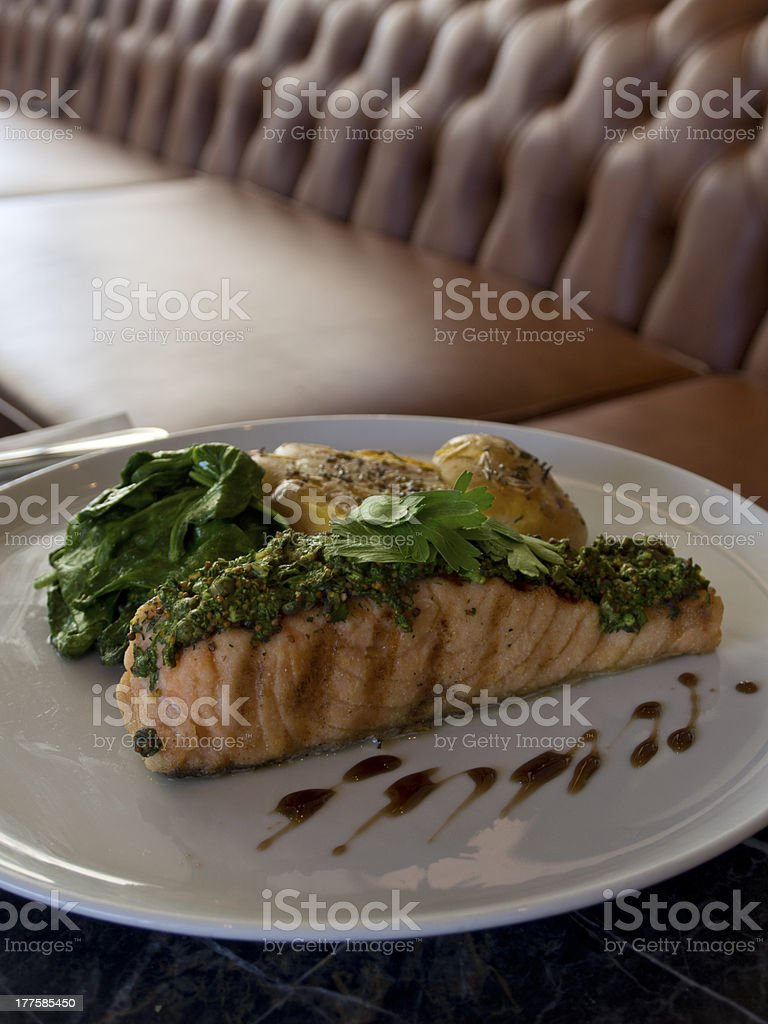 Grilled Salmon On Table royalty-free stock photo