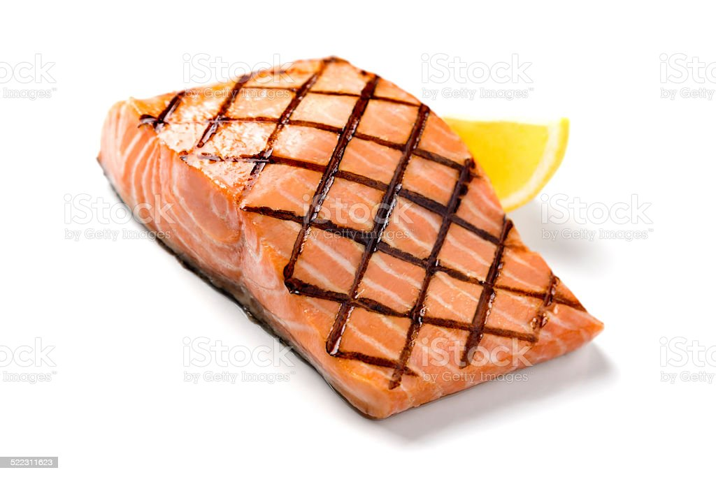 Grilled Salmon on White Background stock photo