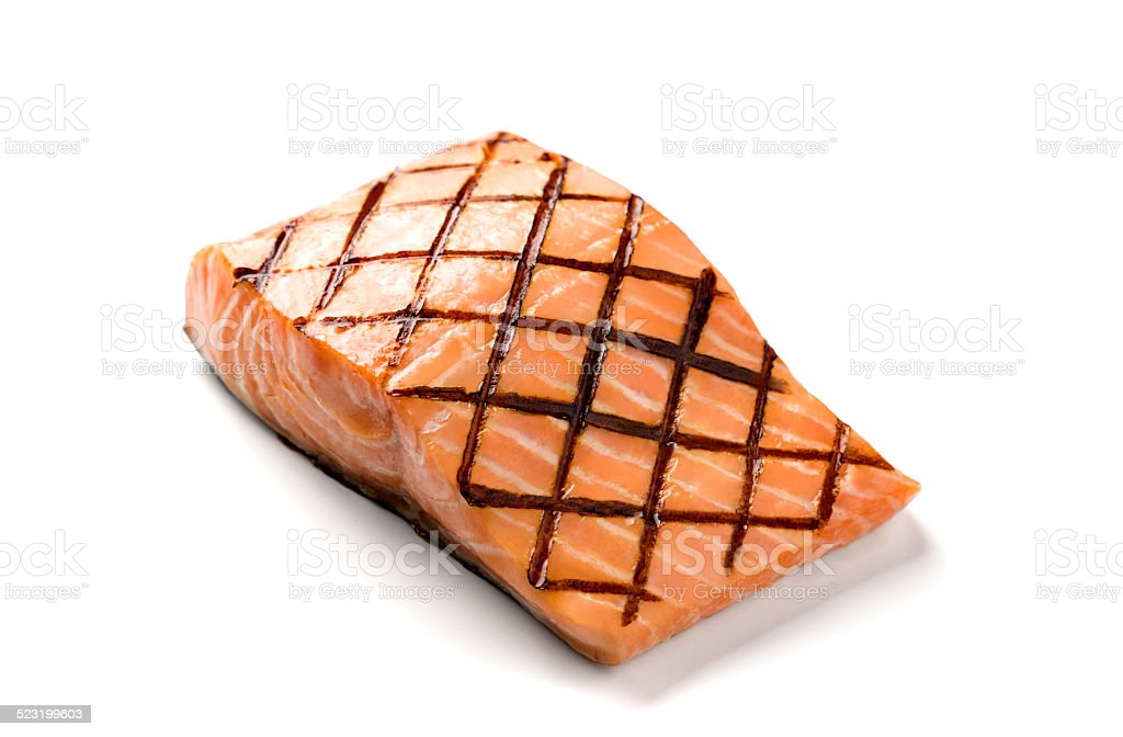Grilled Salmon on White Background stock photo