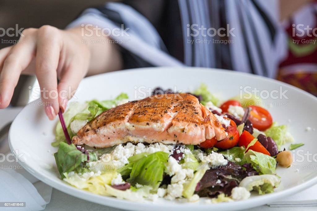 Grilled salmon salad. stock photo