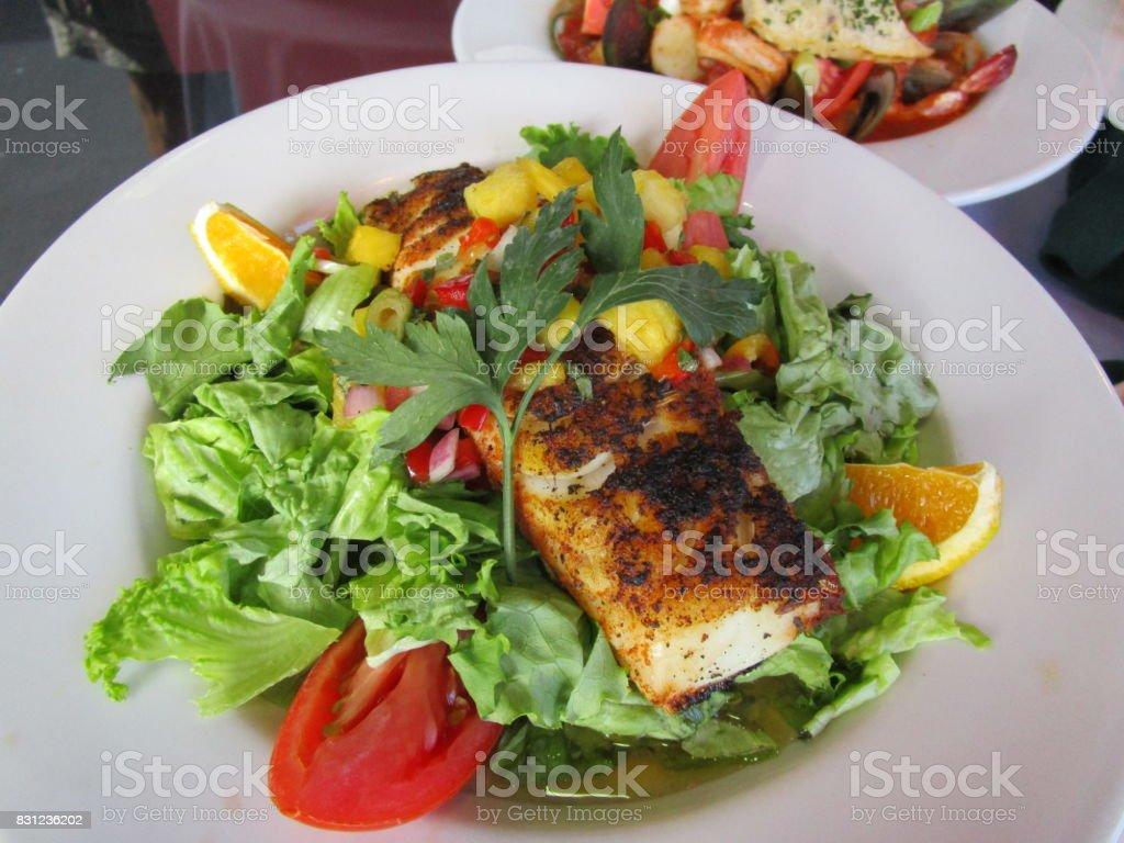 Grilled Salmon Salad stock photo