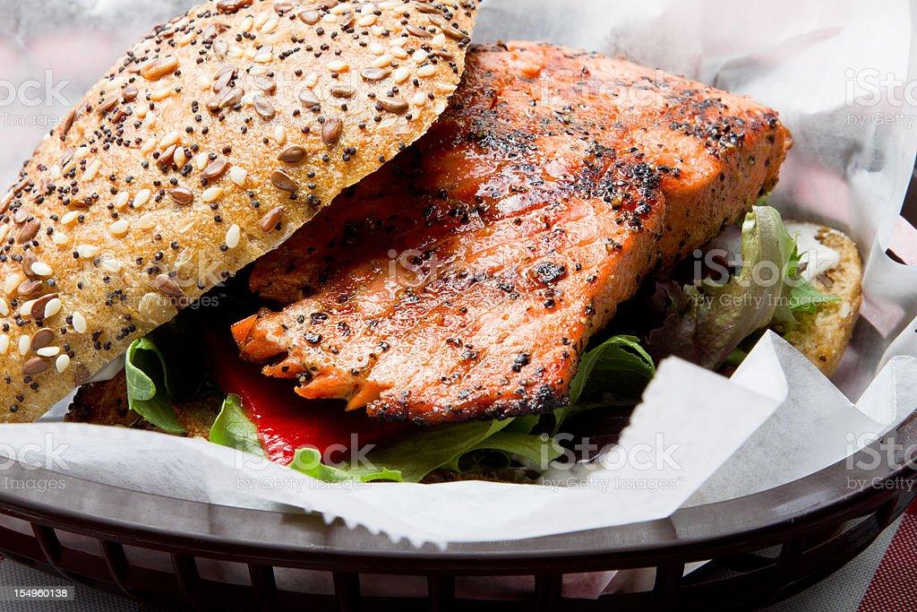 Grilled Salmon Sandwich stock photo