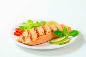 Grilled salmon steak on a plate