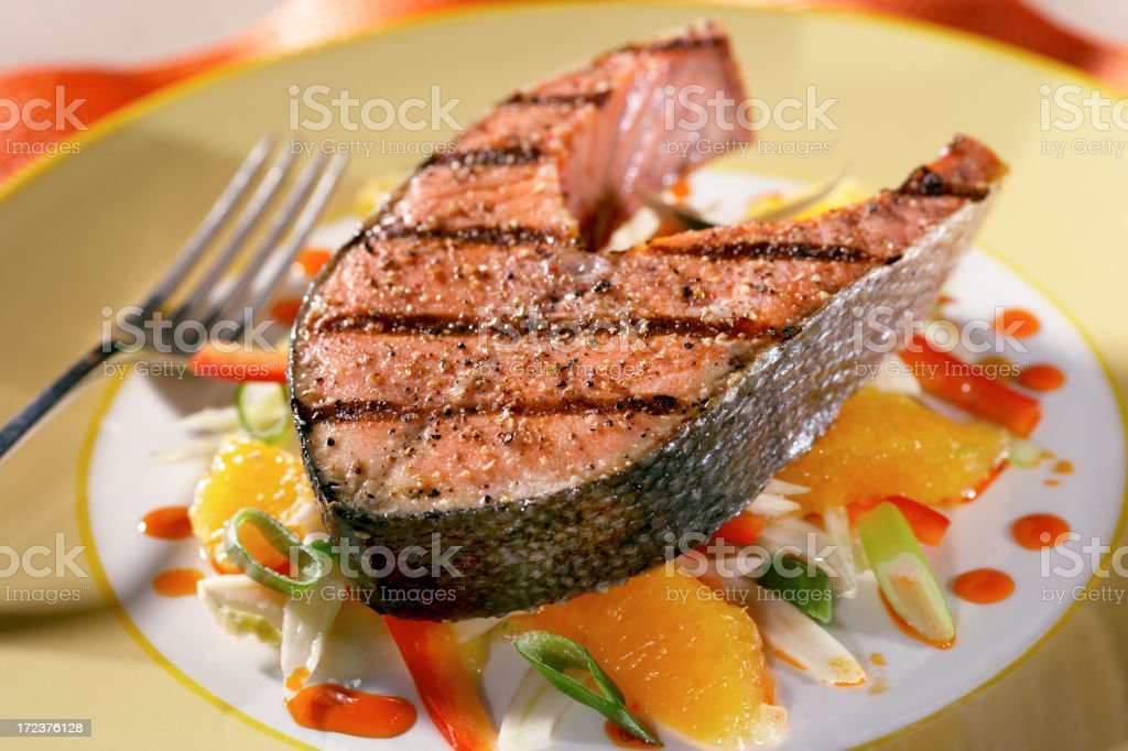 Grilled salmon steak royalty-free stock photo