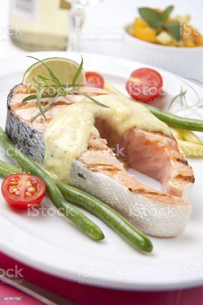 Grilled Salmon Steak royalty-free stock photo
