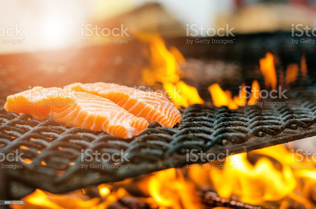 Grilled Salmon Steaks On A Grill Fire Flame Grill Restaurant