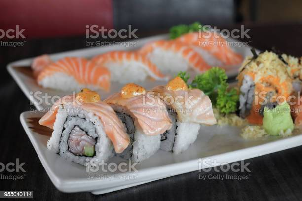 Grilled Salmon Sushi Roll Japanese Food Recipe Stock Photo Download Image Now Istock