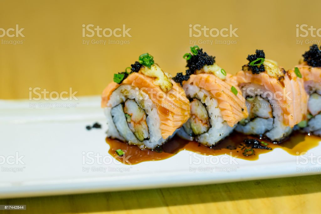 Grilled Salmon Sushi Roll Stock Photo Download Image Now Istock