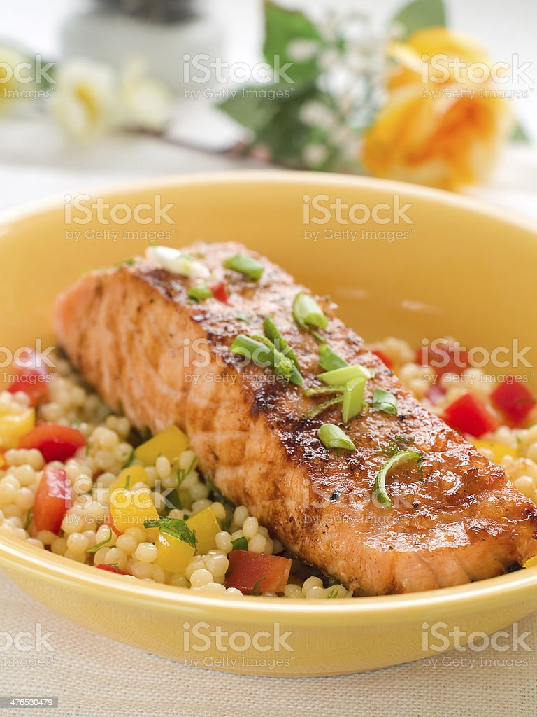 grilled salmon with couscous royalty-free stock photo