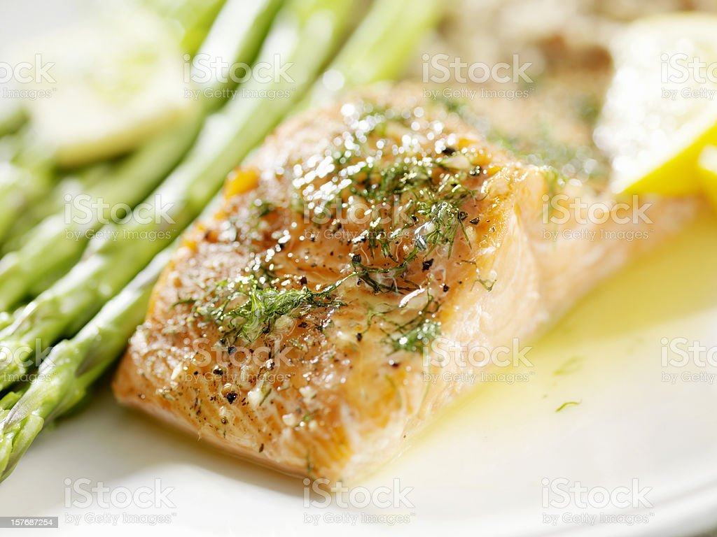 Grilled Salmon with Fresh Dill royalty-free stock photo