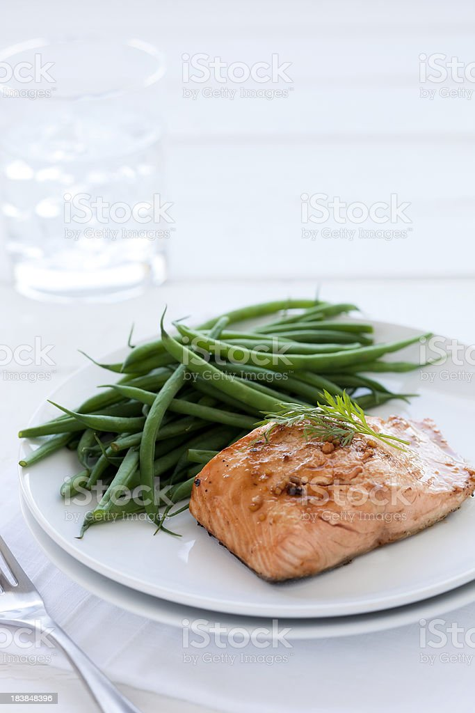Grilled Salmon with Green Beans royalty-free stock photo