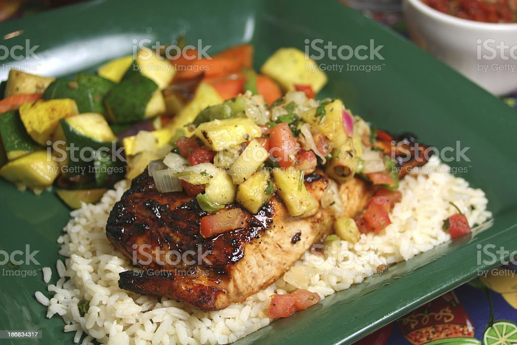 Grilled Salmon with Pineapple Salsa stock photo