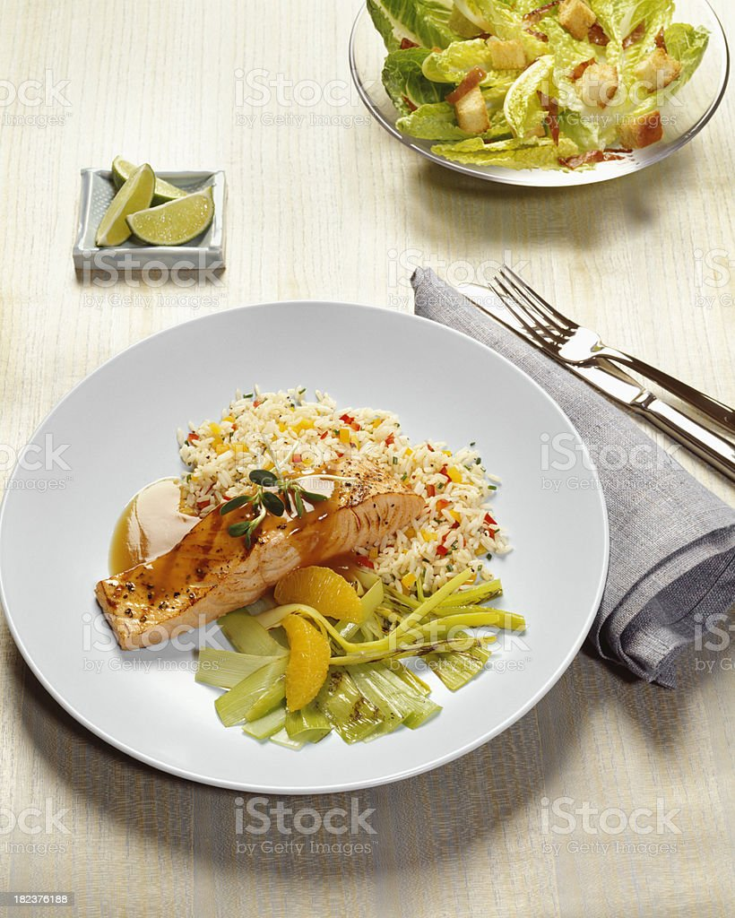 Grilled salmon with rice royalty-free stock photo
