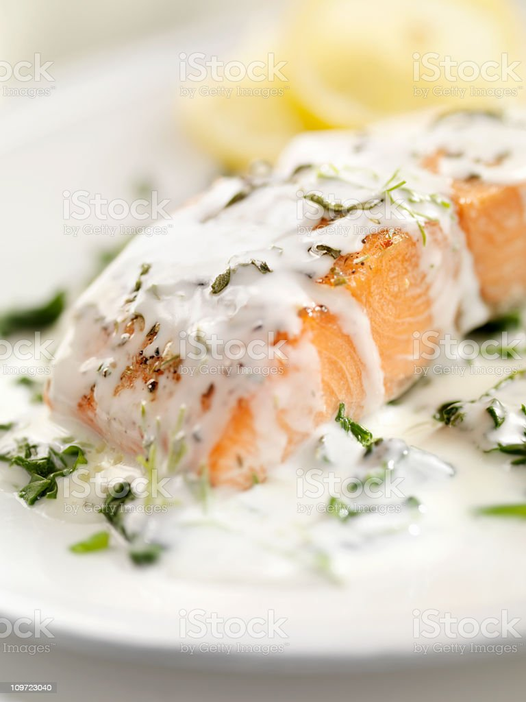 Grilled Salmon with Spinach royalty-free stock photo