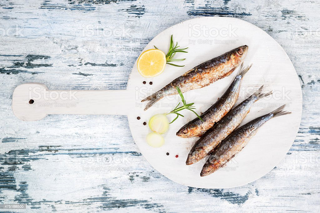 Grilled sardines. stock photo