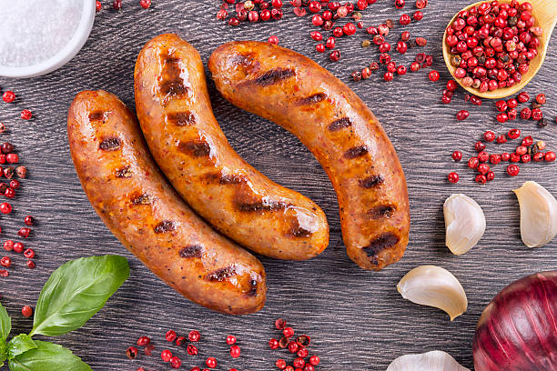 grilled sausage - sausage stock photos and pictures