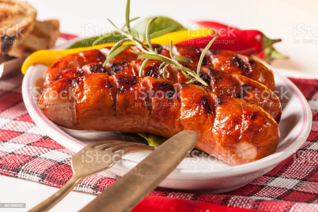 Grilled sausage. royalty-free stock photo