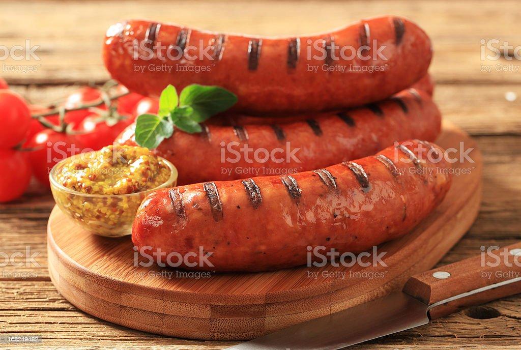 Grilled sausages bildbanksfoto