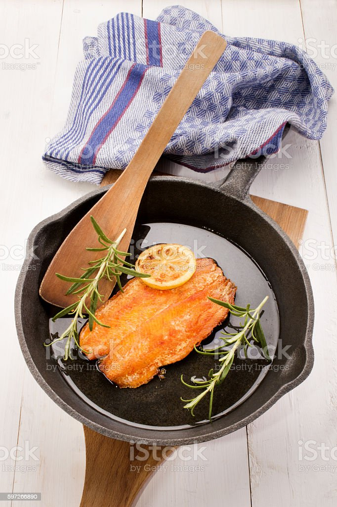 grilled scottish kipper in a cast iron pan royalty-free stock photo