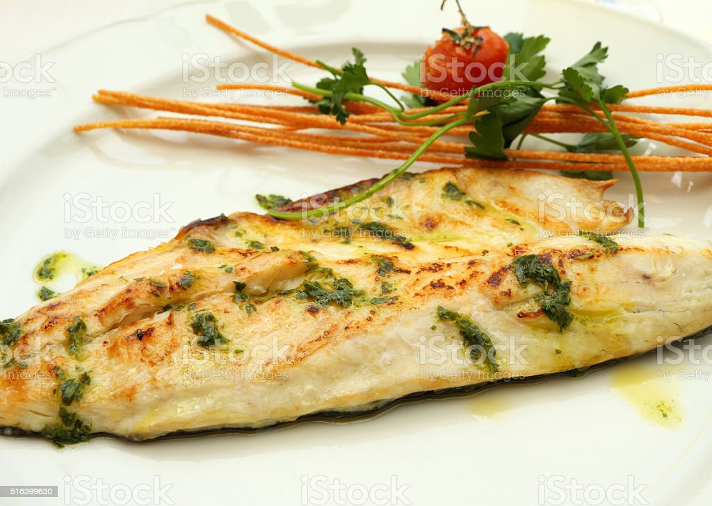 Grilled sea bass stock photo