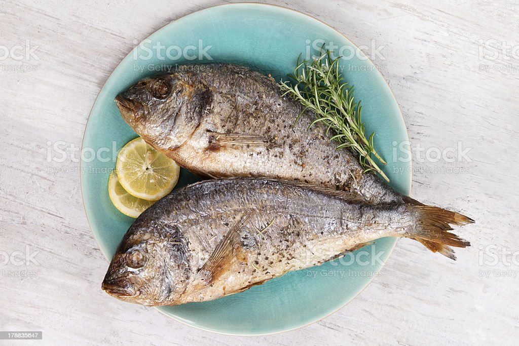 Grilled sea bream on plate, top view. royalty-free stock photo