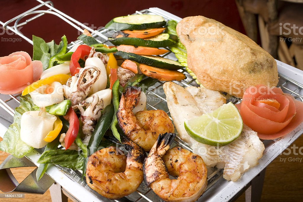 Grilled Sea Food Platter royalty-free stock photo