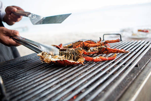 Grilled seafood stock photo