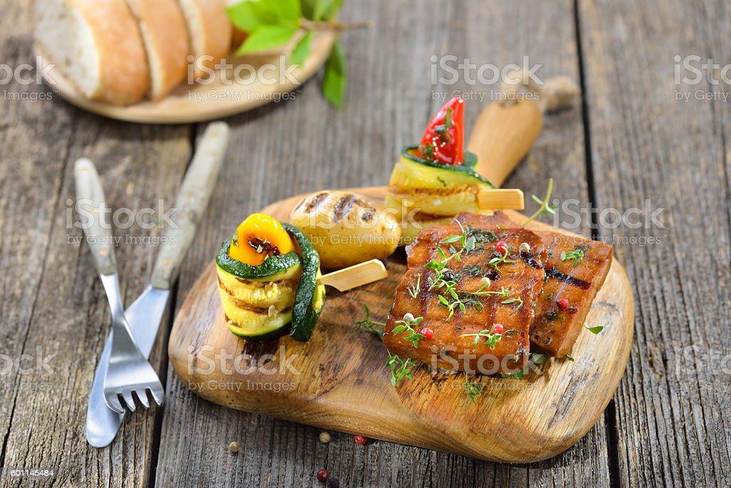 Grilled seitan steaks stock photo