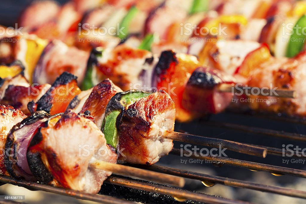 grilled shashlik stock photo