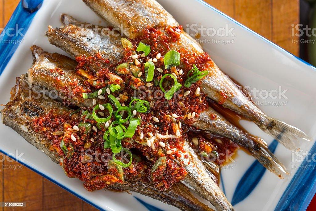 Grilled Shishamo with Soy Sauce stock photo
