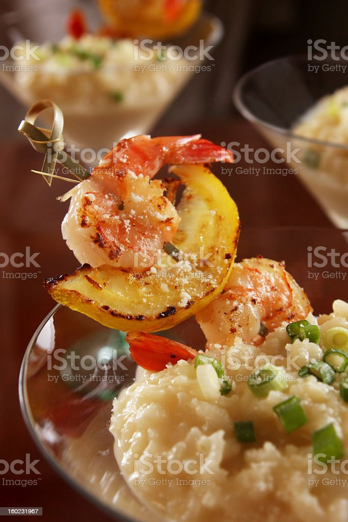 grilled shrimp and risotto royalty-free stock photo
