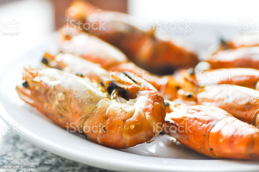 grilled shrimp ,grilled prawn stock photo