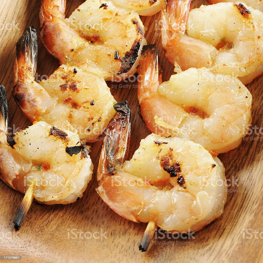 Grilled shrimp kebabs royalty-free stock photo