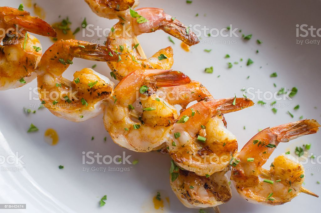 Grilled Shrimp Kebabs stock photo