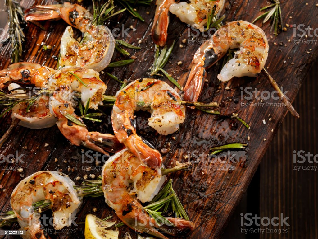 Grilled Shrimp on Rosemary Skewers stock photo