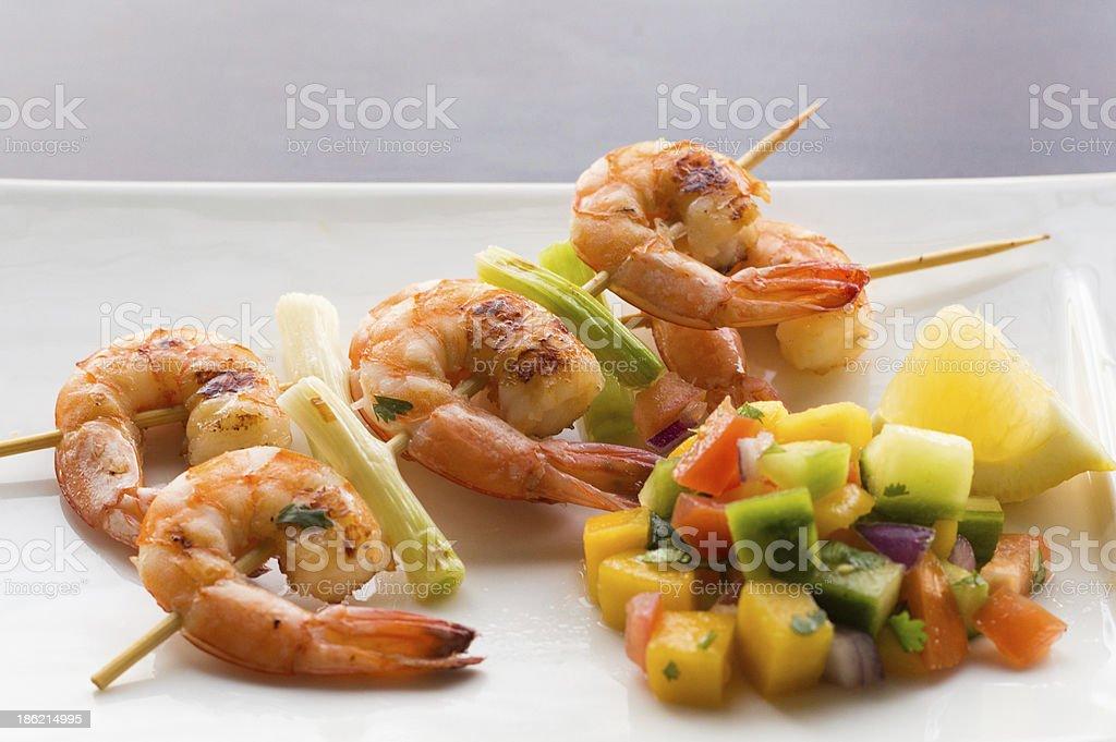 Grilled Shrimp on skewer stock photo