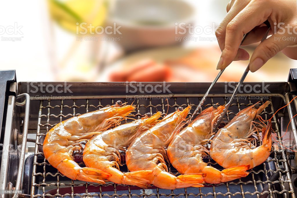 Grilled shrimp or easy BBQ grilled shrimp on electric grill., stock photo
