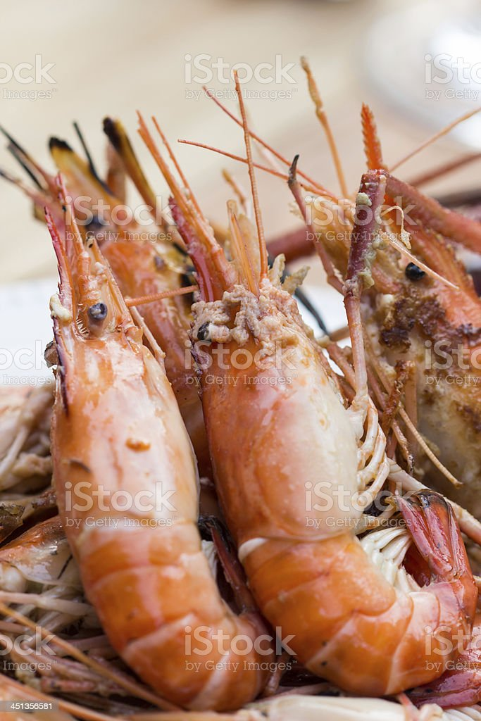 Grilled shrimp. royalty-free stock photo
