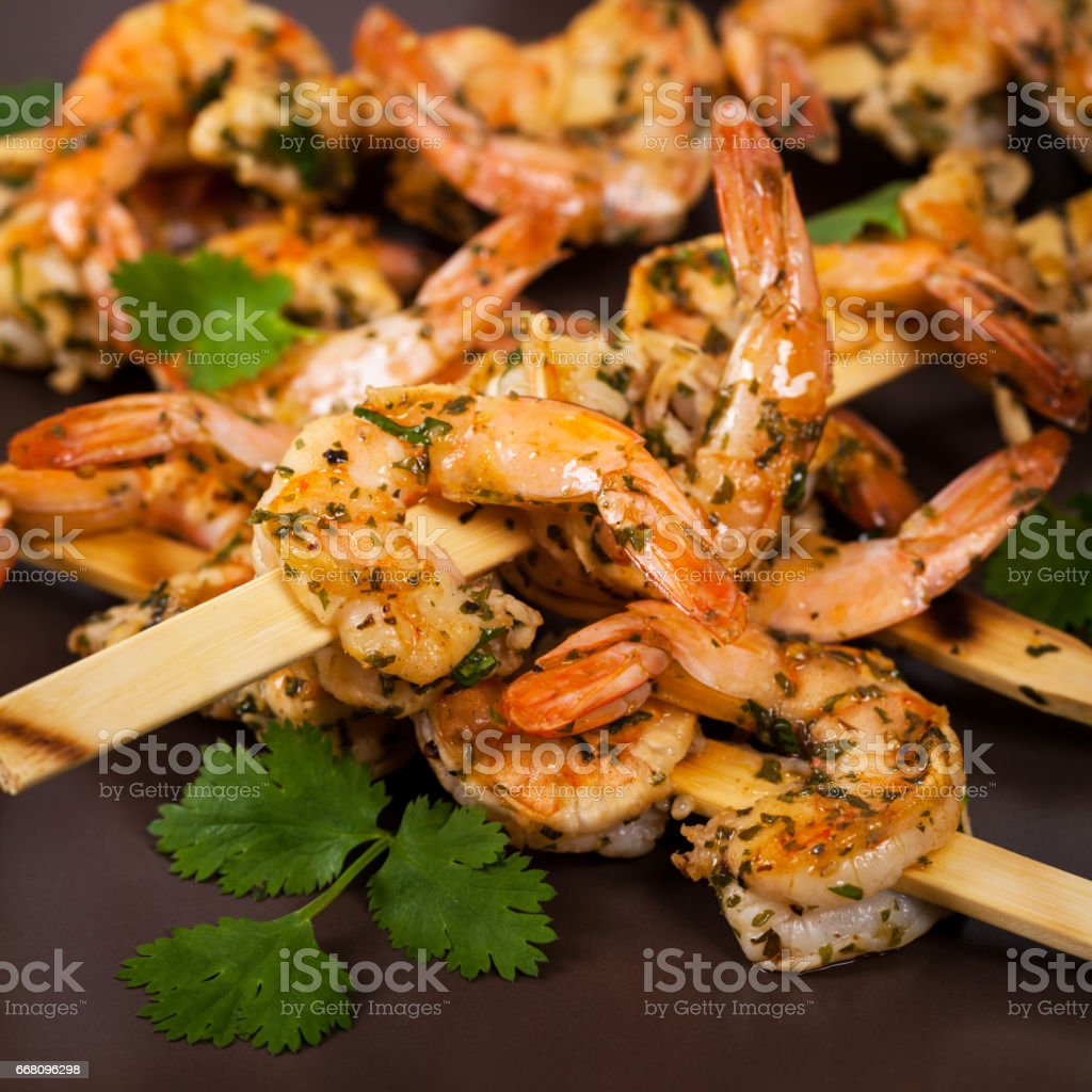 Grilled Shrimp Skewers Appetizer stock photo