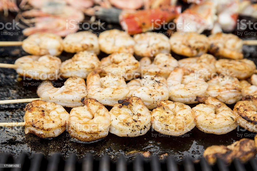 Grilled Shrimp Skewers royalty-free stock photo