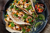 Grilled Shrimp Tacos with Avocado Fresh Salsa and Kale Coleslaw