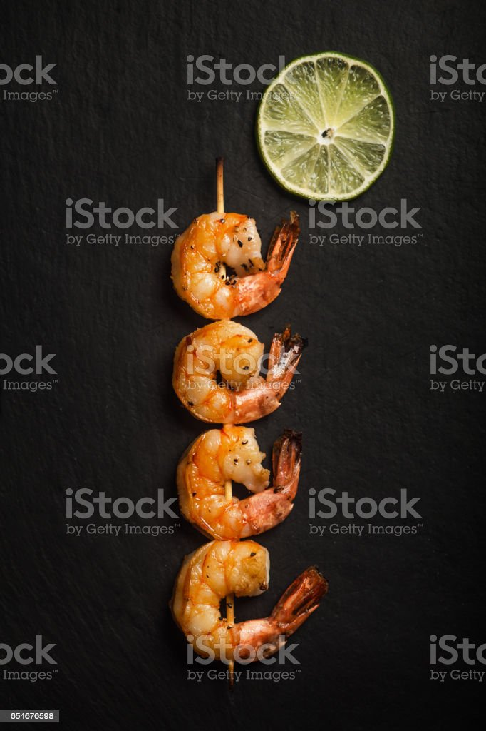Grilled shrimps. Dish. Seafood stock photo