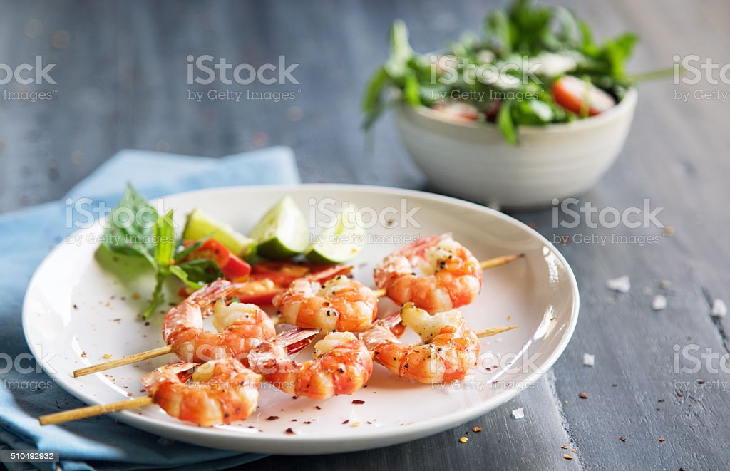 Grilled shrimps stock photo