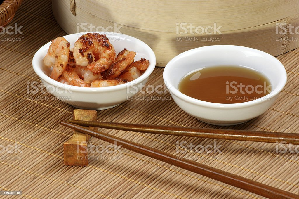 grilled shrimps with some organic sesame oil royalty-free stock photo