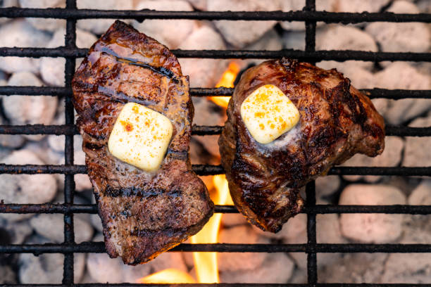 Grilled Sirloin Steak with Butter stock photo